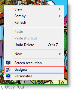 windows 7 feed reader gadgets context menu access