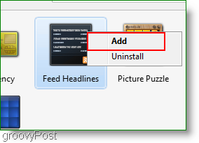 how to add a feed reader gadget in windows 7
