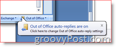 Bottom right corner of Outlook 2007 - Out of Office Auto-Replies Enabled Reminder