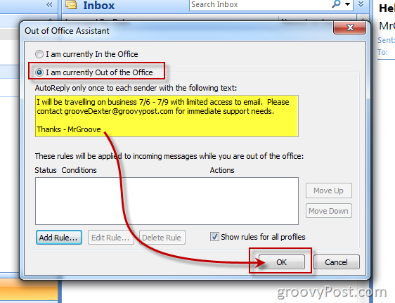 How To Enable Out Of Office Assistant Auto Reply In