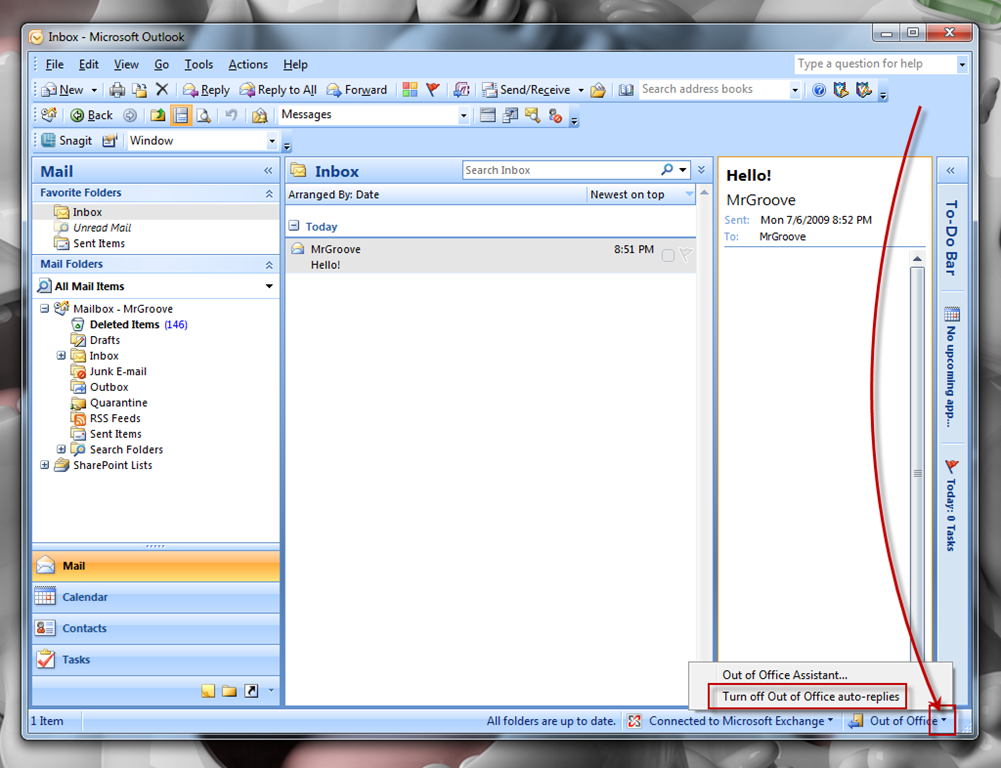 How To Enable Out Of Office Assistant Auto Reply In Outlook 2007