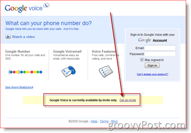 Google Voice Get an Invite Screen Shot