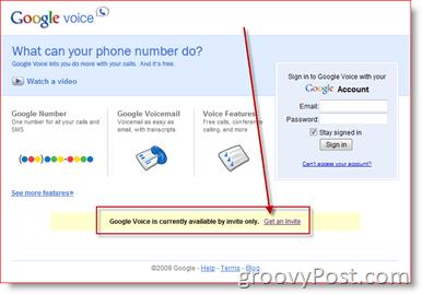 Google Voice Get an Invite Screen Shot