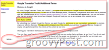 Google Translate Terms of Service