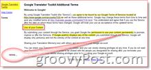 Google Translate Terms of Service