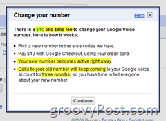 Google Voice Number Change Details