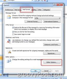 Select Outlook 2007 Color Scheme - Click Editor Options