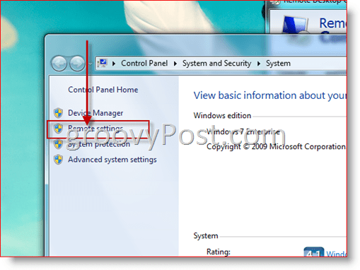 Windows 7 - Open Remote Settings Configuration for RDP
