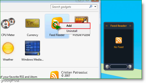 Add Windows 7 Gadget