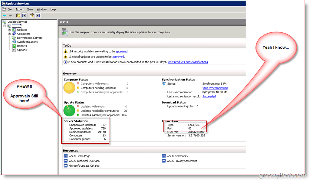 Wsus management console install for Consol service