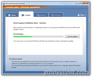 Microsoft Security Essentials Signature Update