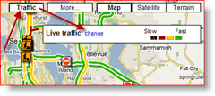 Google Maps Traffic Change Option for Live Traffic