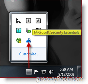 Microsoft Security Essentials Task Bar Icon / Launch