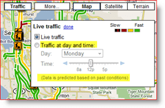 Google Maps Live Traffic at day and time settings