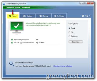 Microsoft Security Essentials Home Menu