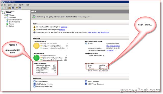 WSUS 3.0 SP2 Admin Console