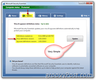 Microsoft Security Essentials Update Menu