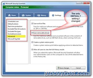 Microsoft Security Essentials Settings Menu