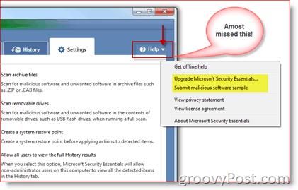 Microsoft Security Essentials Help Menu