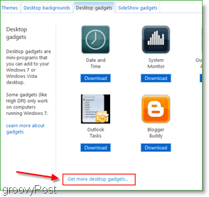 get more desktop gadgets button on the windows site