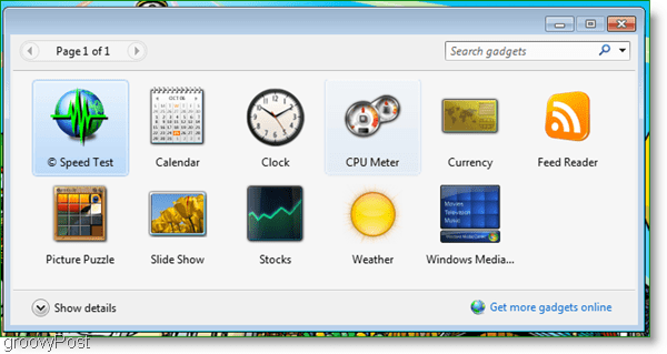 the new gadget appears in the windows 7 gadget window