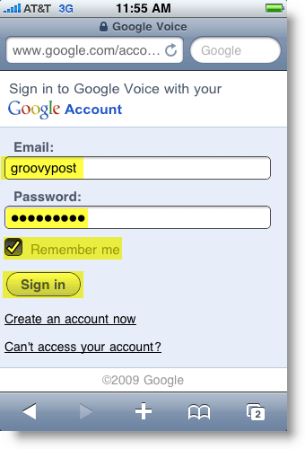 Google Voice Mobile Logon Page