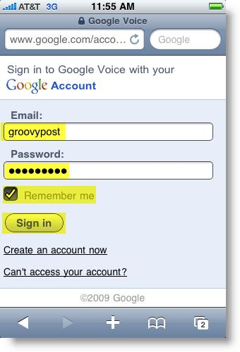 Google Voice Mobile Logon Page
