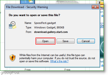 open the file instead of saving it to the hard drive when dealing with gadgets