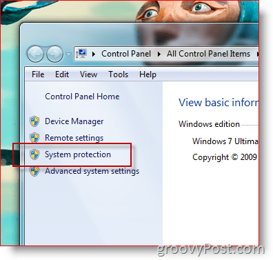 Open Windows 7 System Protection Menu