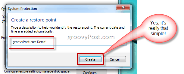 Type Description of Windows 7 Restore Point