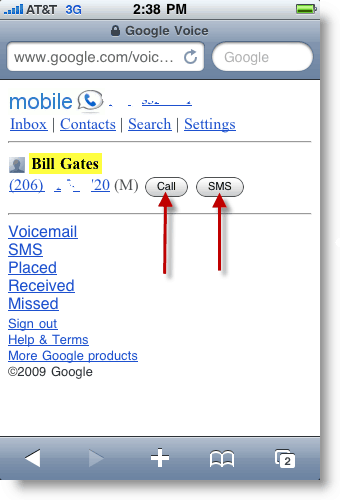 Google Voice Mobile Make a Call or Send SMS Txt Message