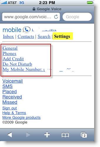 Google Voice Mobile Settings