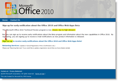 Office Web Apps - Beta Sign-up form