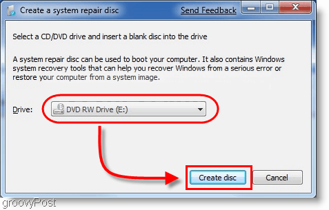 Windows 7 : Create a system repair disc