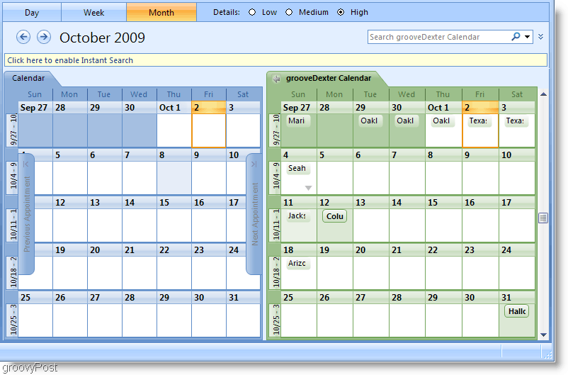 Outlook 2007 Side-by-side Calendar Screenshot