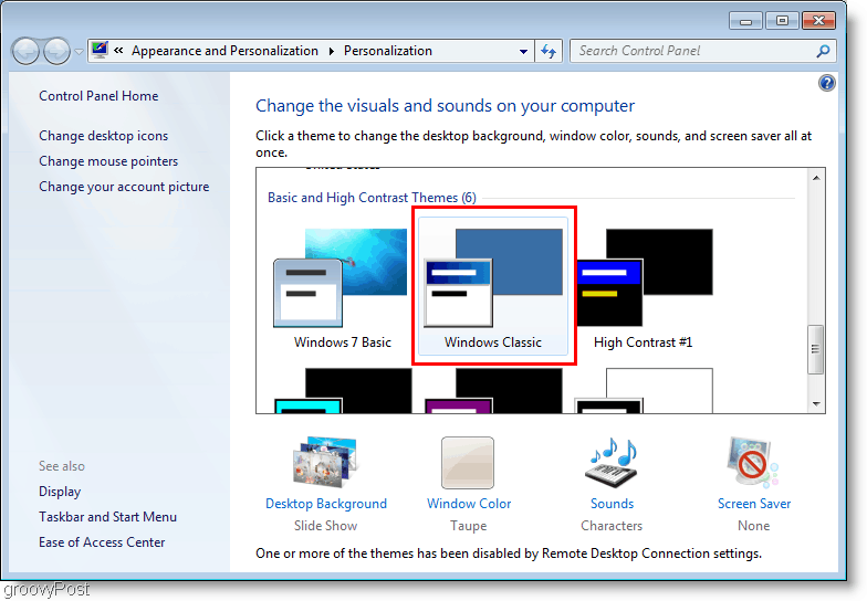 Windows 7 Change Theme to Classic
