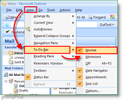 Outlook 2007 To-Do Bar - Customize View to Normal