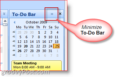 Outlook 2007 To-Do Bar - Minimize