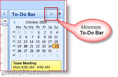 Outlook 2007 To-Do Bar - Minimize