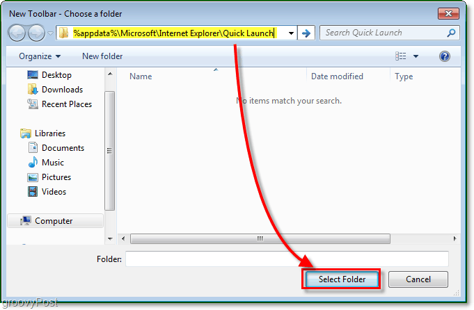 the quick launch new tool bar window, enter the address %appdata%MicrosoftInternet ExplorerQuick Launch to browse to the correct folder