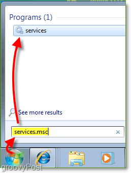use the start menu to access services.msc
