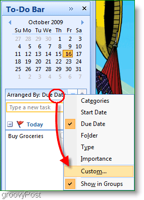 Screenshot : Outlook 2007 To-do Bar
