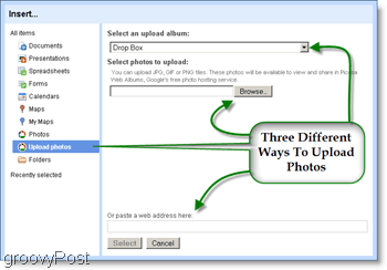 Use your Picasa photos from your Google Site and Upload to Picasa from your google site