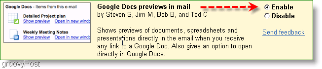 google docs previews can be enabled in the Labs settings