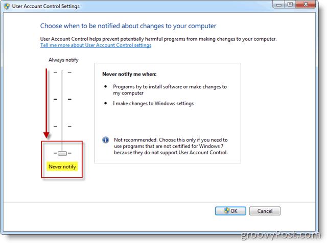 Screenshot - Modify Windows 7 UAC Notification Settings using the GUI Tool