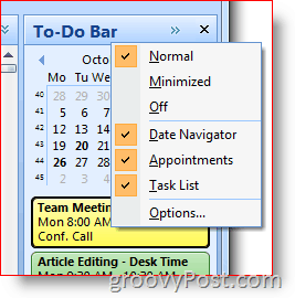 Outlook 2007 To-Do Bar - Righ-Click to choose options