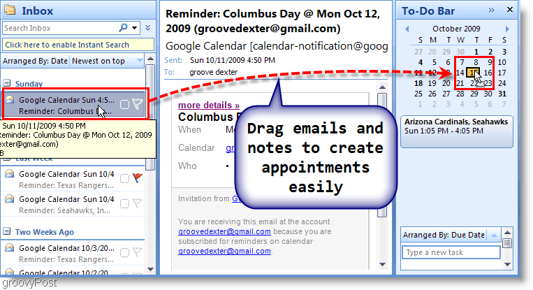 Outlook 2007 To-Do Bar - Drag Email to Calendar