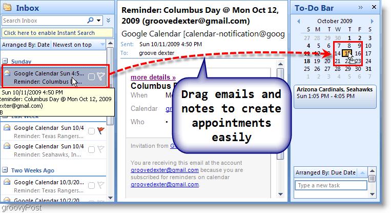 Outlook 2007 To-Do Bar - Drag Email to Calendar