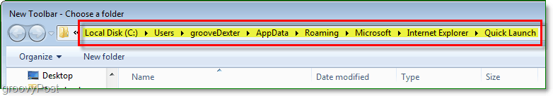 The app data Quick Launcher folder - Make sure you are at the right folder! Then Press Select Folder