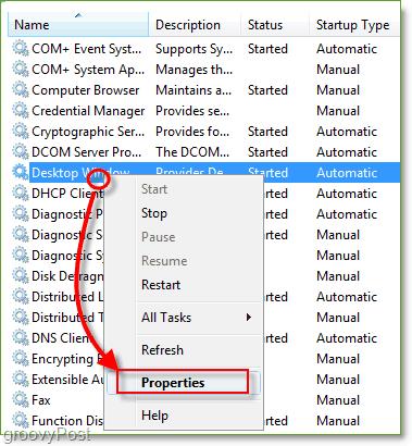 services.msc management window, rigt-click dwm and click properties